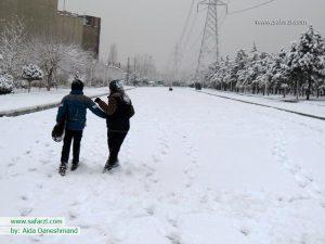 شادی کودکانه در برف